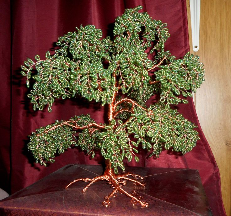 """Large copper wire and bead tree. 13"""" tall"""