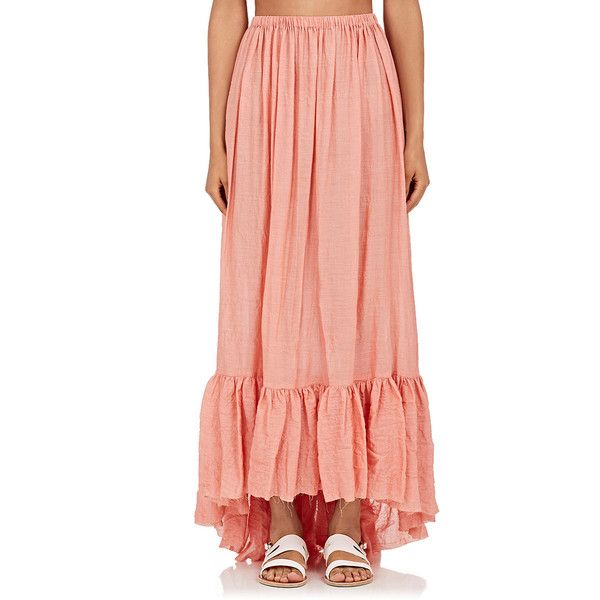 Lisa Marie Fernandez Women's Selena Cotton-Blend Maxi Skirt (9,015 MXN) ❤ liked on Polyvore featuring skirts, pink, long red skirt, pink high low skirt, pull on skirts, short front long back skirt and hi low maxi skirt