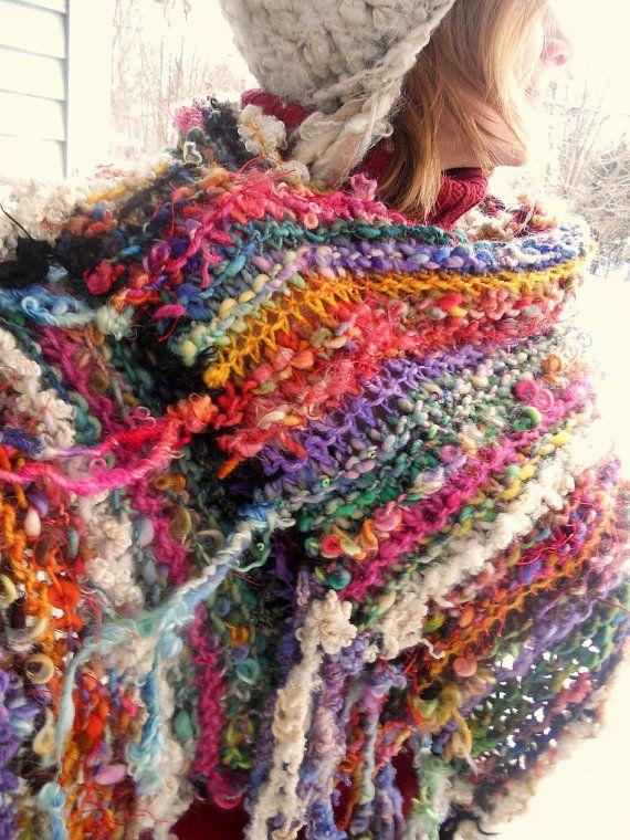 rustic handknit wool wrap shawl scarf from the enchanted forest -  gypsy artyarn rainbow crazy quilt wrap