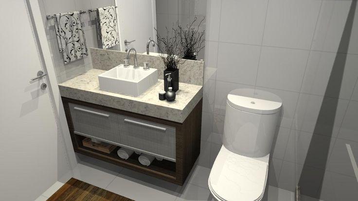 banheiro sob medida pequeno 4  banheiros  Pinterest -> Lavatorio Banheiro Planejado