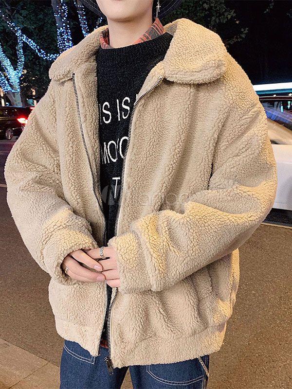 Men\'s Puffer Teddy Jackets Fleece Coats Turndown Collar Outerwear For  Winter | Streetwear men outfits, Mens puffer jacket, Korean fashion men