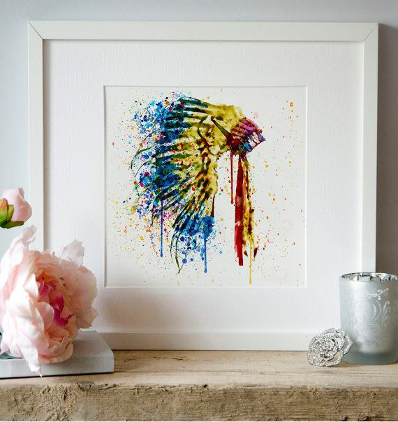 Native American Feather headdress Watercolor by Artsyndrome