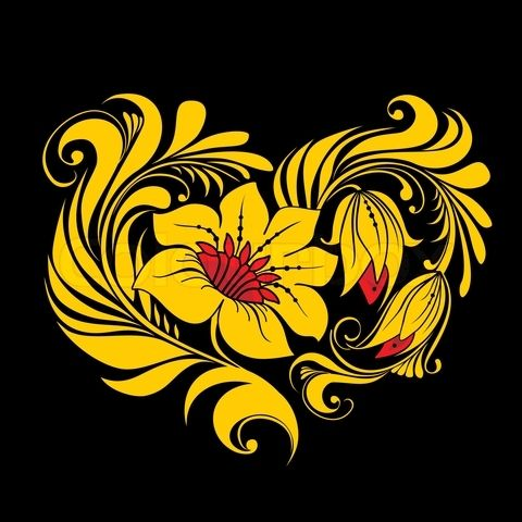Vector of 'Heart of Russian traditional floral ornament'
