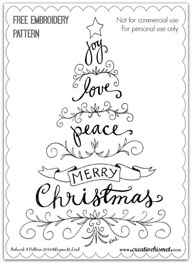 Joy, Love, Peace - Embroidery Pattern   by Regina Lord (creative kismet)