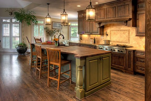 Olive green kitchen island for alison pinterest for Green country kitchen ideas