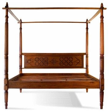 Lotus Full Size Mahogany Canopy Bed tropical-canopy-beds