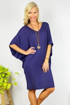 Navy Batwing T-Shirt Dress