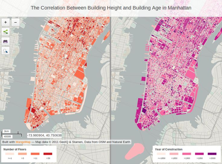 The Correlation Between Building Height And Building Age In Manhattan Map Link Http