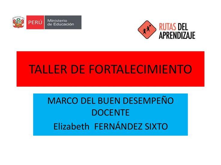 TALLER DE FORTALECIMIENTO  MARCO DEL BUEN DESEMPEÑO  DOCENTE  Elizabeth FERNÁNDEZ SIXTO