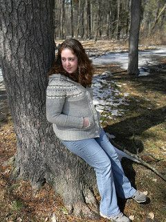 "This sweater is inspired by the sweater worn by Hermione Granger in ""Harry Potter and the Deathly Hallows, Part 1"" during several of the scenes set in the forest. This version is knit nearly seamlessly from the top down, with a charted fair isle yoke, raglan increases, cable border, and pockets."
