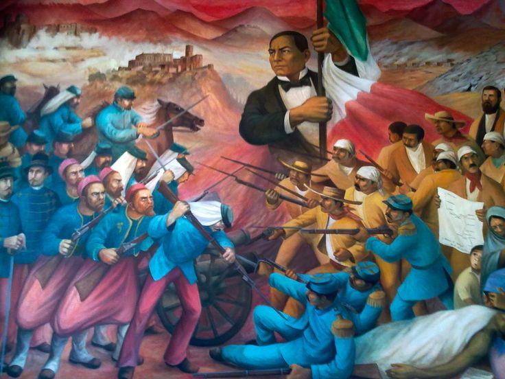 Mural de Benito Juárez ubicado en el Castillo de Chapultepec. De las cosas que aprendí de la historia de México, creo que son tres las que más me atraparon y a cualquier extranjero, supongo, le deben llamar también bastante la atención: la Independencia, la Guerra de intervención en la que sacaron a Maximiliano de Hasburgo, protagonizada por Benito Juárez, y la Revolución de 1910.