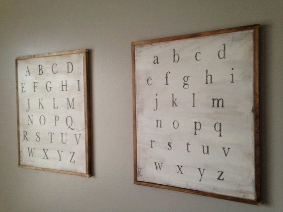 Lovely for a bedroom, playroom or homeschool classroom.  Each sign is painted and distressed on stretched canvas and then trimmed with walnut