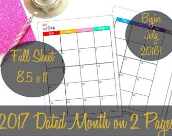 2017 Dated Monthly Planner Printable Inserts, Arc Discbound, Martha Stewart, Franklin Covey, Month on 2 Pages, MO2P - INSTANT Download