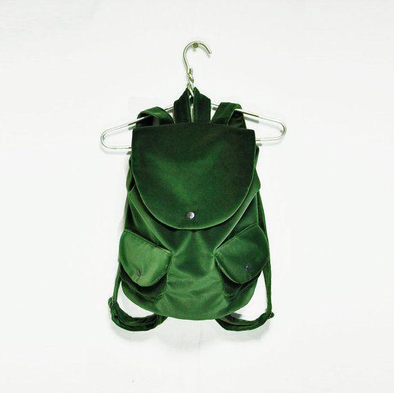 Velvet Green Backpack, Grass velvet rucksack, city backpack, light backpack, women's ruck sack, fabric backpack, velvet green purse
