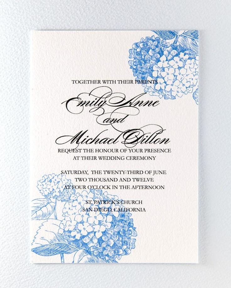 printable botanical wedding invitation blue hydrangea 3