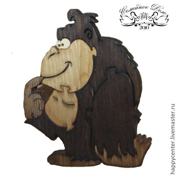 """Купить Сувенир - пазлы деревянные """"Веселая Обезьянка"""". - пазлы, Пазл, развивающие игрушки, пазлы из дерева"""