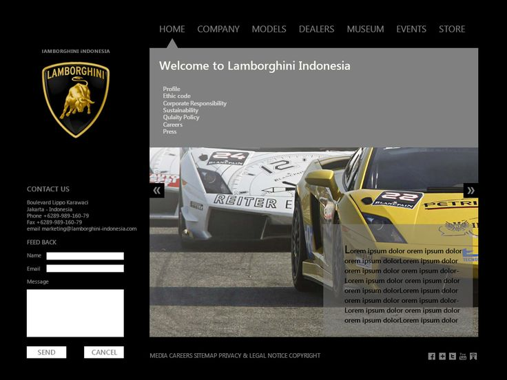 -failed- Pitching website layout for Lamborghini Indonesia