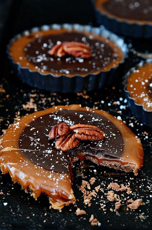 Salted Caramel Chocolate Tarts.  A simple yet elegant dessert recipe at TidyMom.net