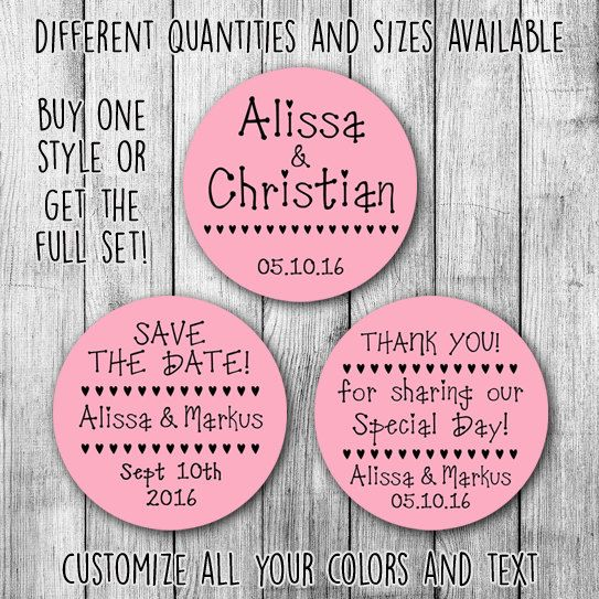 Heart line full set printable wedding custom stickers by mycustomwedding on etsy the