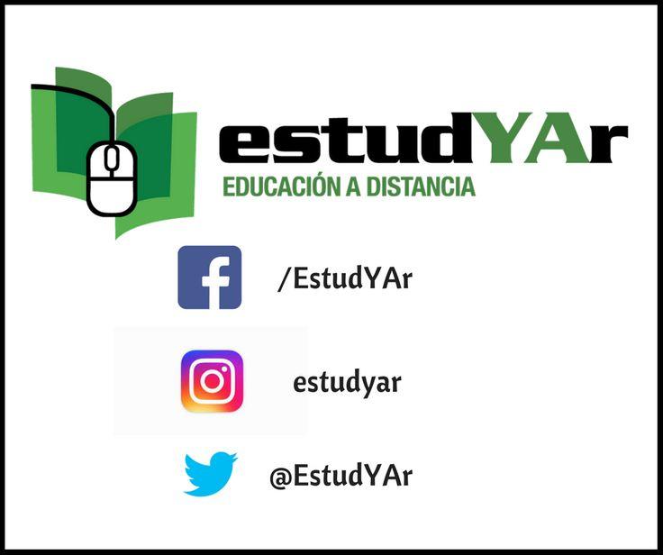 Enterate de nuestras novedades visitando nuestra pagina web http://estudyar.com/ o siguiéndonos en nuestras redes sociales!