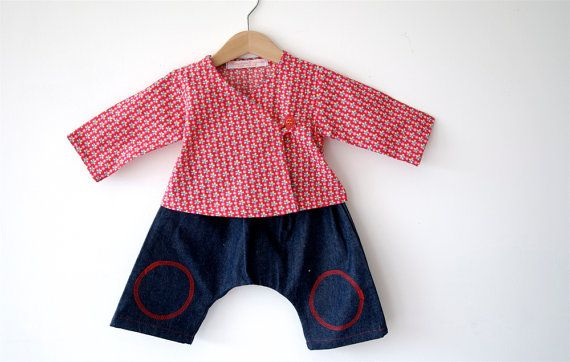 VENTE ! Jean sarouel ensemble et cache-coeur rouge - Sarouels de Set bleu jeans et cache-coeur rouge