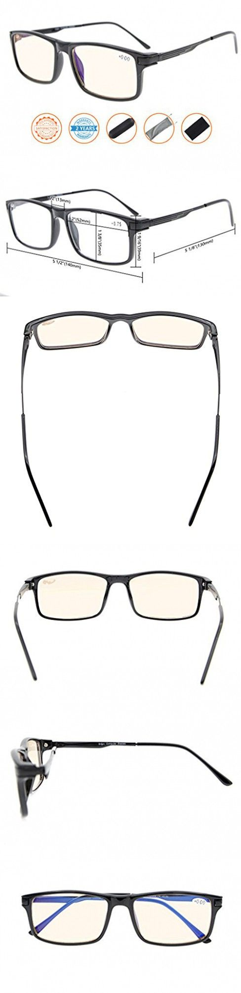 Reduces Eyestrain,Anti Blue Rays,UV Protection,Spring Hinges,Computer Gaming Reading Glasses(Black,Amber Tinted Lens)  0.75