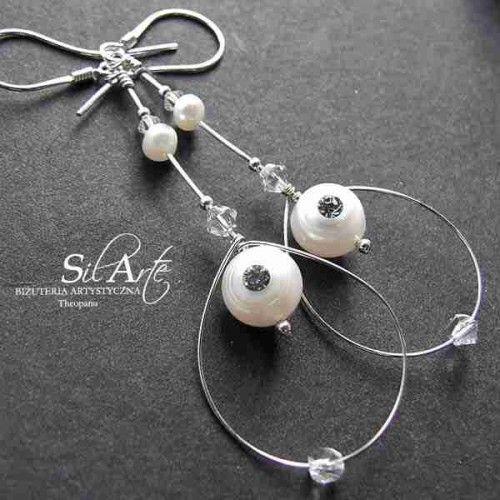 Epona kolczyki z perłą - Biżuteria ślubna - Biżuteria srebrna
