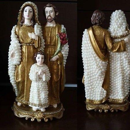 Sagrada Família em pé com pérolas - 30 cm