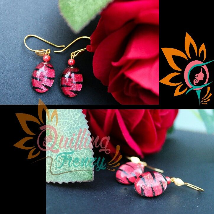 #quillingfrenzy #cabochoncraze #cabochon #earrings #tiger #print