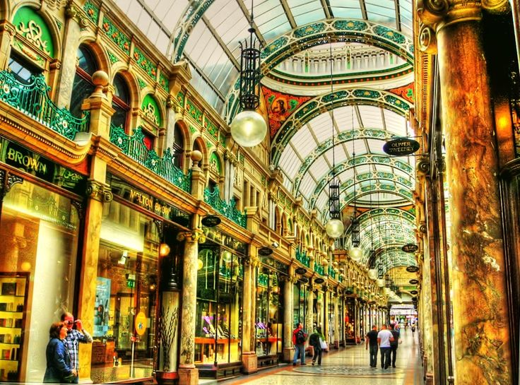 Shopping in Leeds' beautiful Arcades and Galleries. Combine with Leeds' German Christmas Market in November and December for a fun, productive day of holiday shopping! Leeds England!