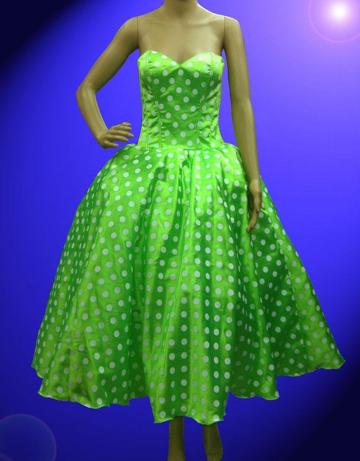 Custom Green Polka Dot Vintage Dress Show Girl Drag Queen Cabaret Show #Dress