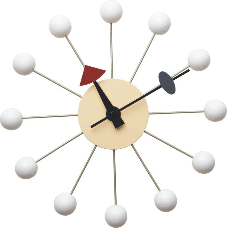 Replica George Nelson Ball Clock - White -- Our Replica George Nelson Ball Clock is an inspired reproduction of the mid century (1950's) clock designs of George Nelson. This fun and interesting pieces has classic retro 50's colours and provides a stylish alternative to the dull and boring modern wall clocks that abound the market.   Features an Aluminium Quartz holder, with CE Quartz movement.  The bright retro coloured balls will delight!--67.0000