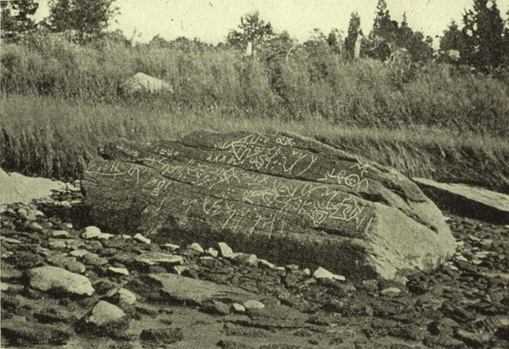 Photograph of Dighton Rock taken in 1893. The Dighton Rock, found in the riverbed of the Taunton River in current Berkley, Massachsetts, formerly part of the town of Dighton, has been an interesting controversy since 1912 when Edmund Delabarre, a Brown University Professor, wrote that markings on the Dighton Rock suggest that Miguel Core-Real, a Portuguese sailor made the inscriptions.