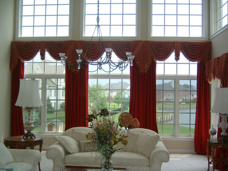 Astonishing Curtain Ideas For Large Windows Design With Bow Window And Red Color Wide Curtain Window Wall Along With High Ceiling Home Design Ideas Large Window Curtain Ideas