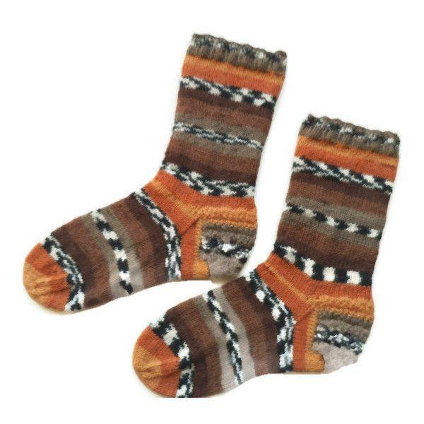 Wool men socks, knit wool socks, brown, orange socks, wool socks, warm... ($33) ❤ liked on Polyvore featuring men's fashion, men's clothing, men's socks, mens wool socks, mens brown socks, mens socks, mens woolen socks and mens striped socks