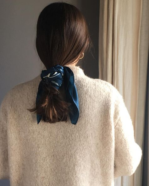 Hair tie silk scarf