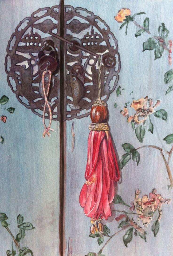 Asian Doorlock / Watercolour / Joke van der Klink