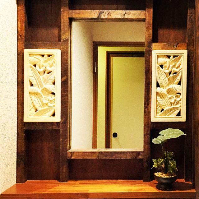 SUGIMOTOYAさんの、バス/トイレ,観葉植物,照明,洗面所,アジアン,リノベーション,男前,のお部屋写真