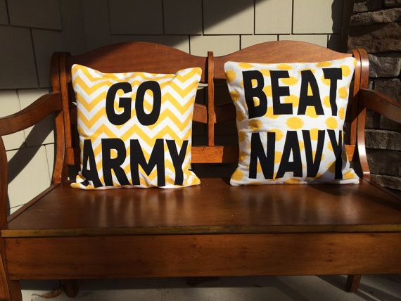 Go Army AND Beat Navy Pillow Covers YELLOW GOLD chevron ikat dot Premier Prints Fabric for West Point USMA football fans