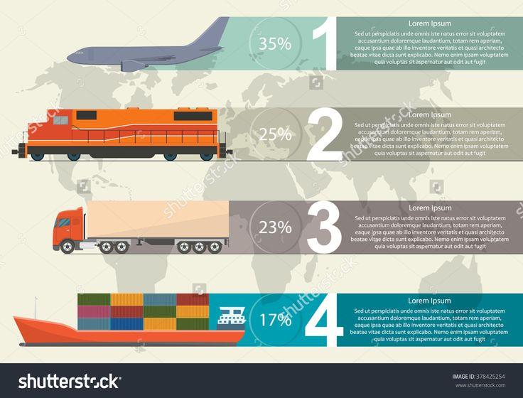 Freight Transportation Info Graphic Стоковая векторная иллюстрация 378425254 : Shutterstock