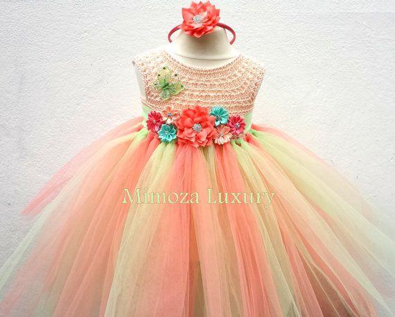 Vestido de la muchacha de flor de melocotón Coral de menta, menta vestido coral, vestido de Dama de honor, vestido de la princesa, tul top de ganchillo, vestido de punto a mano