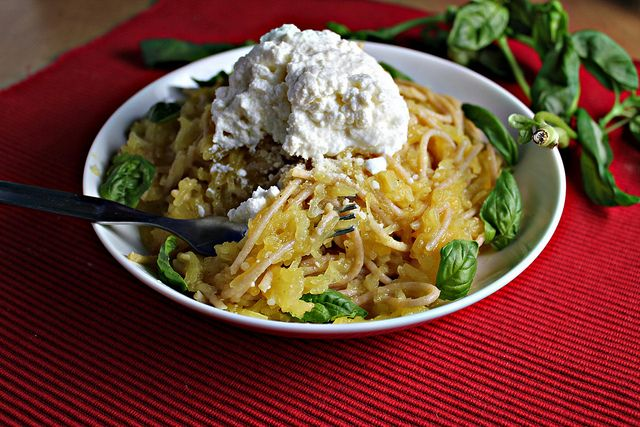 Spaghetti & spaghetti squash with lemon garlic sauce - one of my faves, except I use way more lemon, and goat cheese instead of ricotta.  I also top it off with some sauteed shrimp for a little more protein.  DELICIOUS!