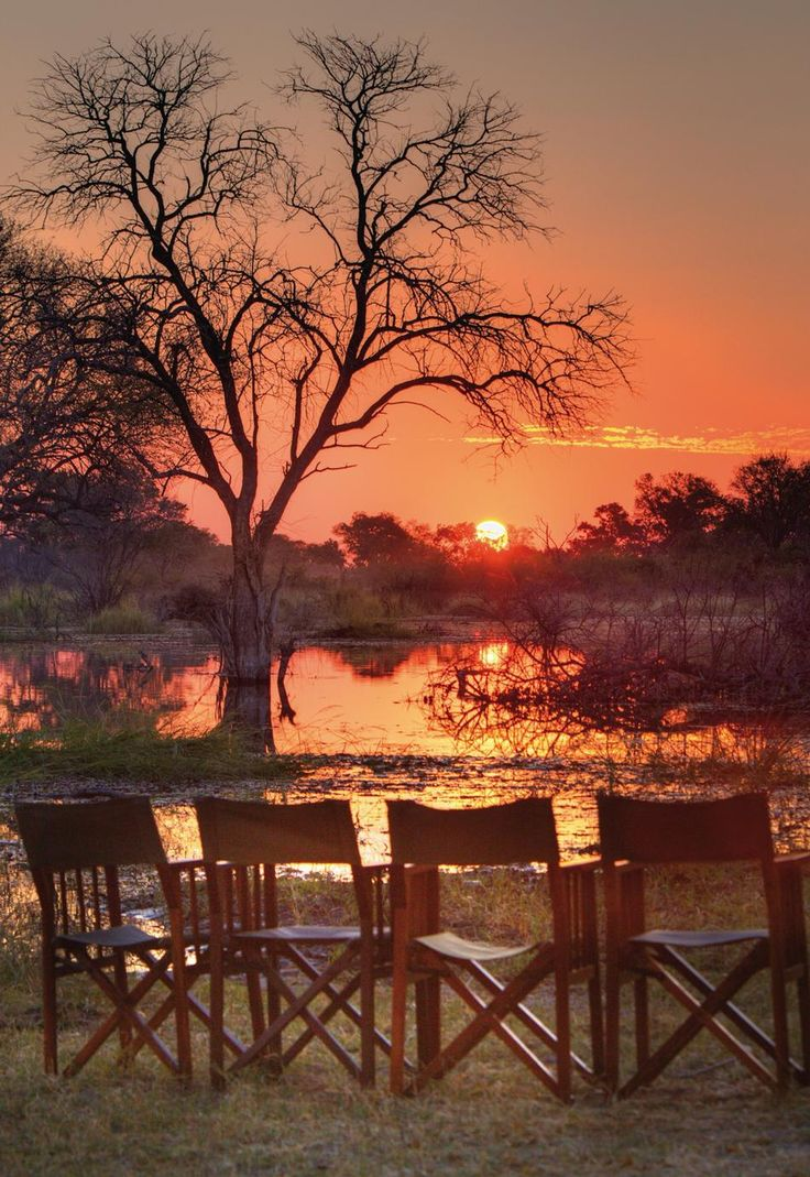 Orange sunset in the wilderness. Khwai River Lodge in Botswana. Travel to Botswana with SEVENTH SENSE DMC. A member of GONDWANA DMCS - your network of boutique Destination Management Companies for travel to all the exotic corners of this world - www.gondwana-dmcs.net