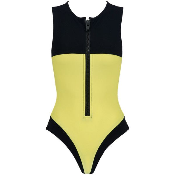 That bee one piece ($269) ❤ liked on Polyvore featuring swimwear, one-piece swimsuits, one piece swimsuit, yellow one piece swimsuit, yellow swimsuit, one-piece swimwear and sporty swimsuits