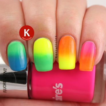 Neon rainbow gradient skittle nail art by Claire Kerr