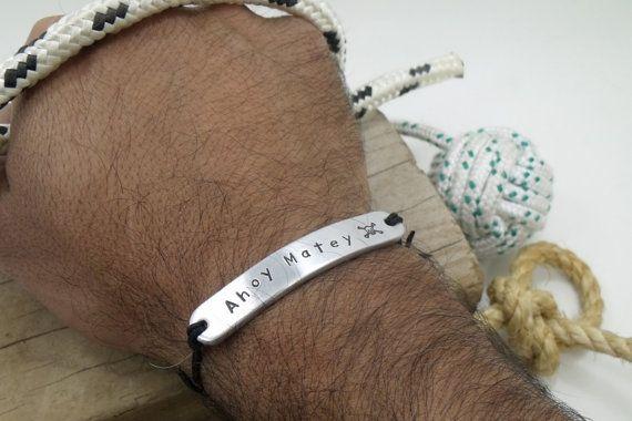 Personalized Pirate Aluminum Bracelet  Pirate by Aluminiopassions