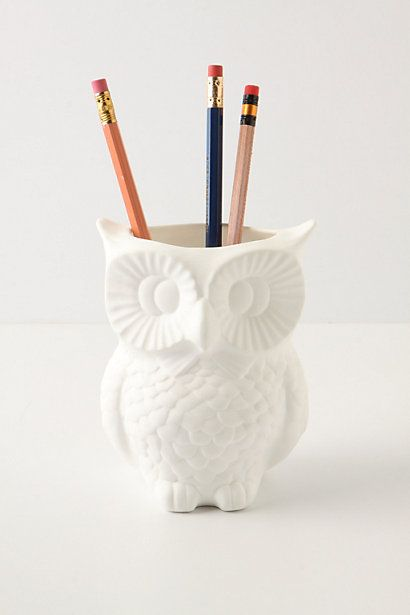 White owl pencil holder [Weird, I actually have this. I found it at a thrift store years ago. It holds our toothbrushes.]