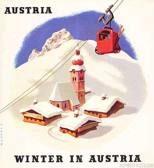 Vintage 1950's Austria winter ski travel brochure.  Illustration by Reinhart Wettach.