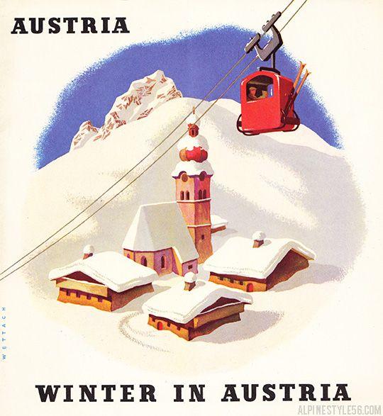 Vintage 1950's Austria winter ski travel brochure.  Illustration by Reinhart Wettach.