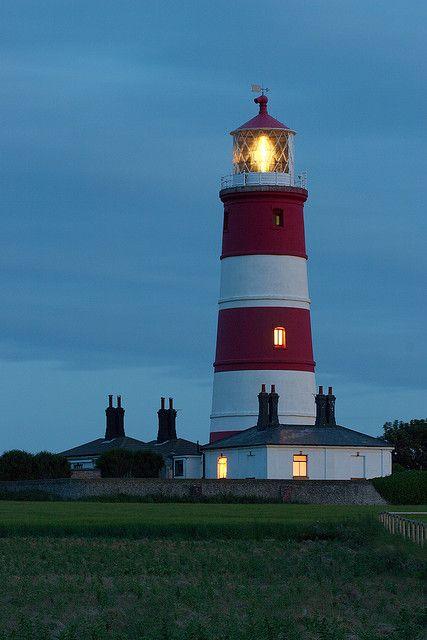 Happisburgh Lighthouse at dusk  Norfolk, UK (pronounced Hazeborough)